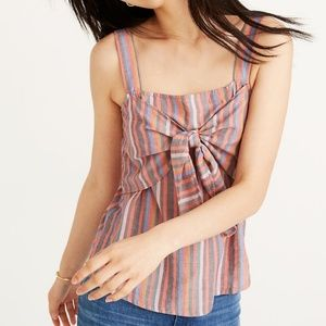 Madewell rainbow striped tie front cami top